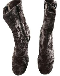 Chloé Lexie Velvet Ankle Boots - Pink
