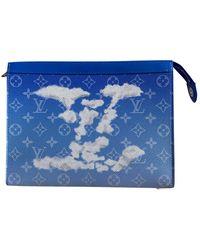 Louis Vuitton Pochette A4 Leinen Taschen - Blau