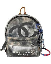 Chanel Graffiti Grey Cloth Backpacks - Gray