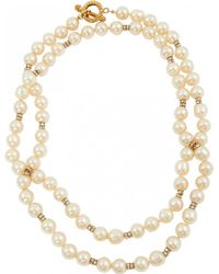 Chanel - Pre-owned Vintage White Metal Necklace - Lyst