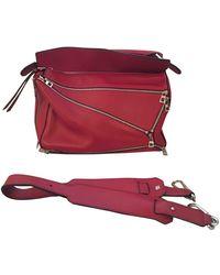 Loewe Puzzle Leder Handtaschen - Rot