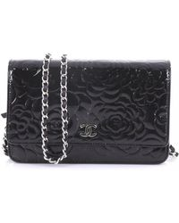a5b2c6a45c8543 Lyst - Chanel Wallet On Chain Patent Leather Clutch Bag in Black