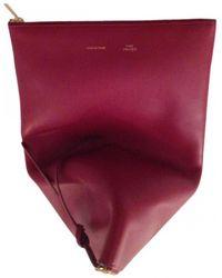 Céline - Burgundy Leather Clutch Bag - Lyst
