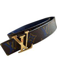Louis Vuitton Cinturón Initiales de Lona - Marrón