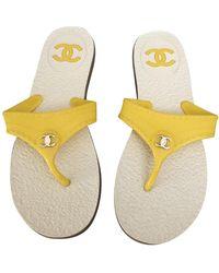 Chanel Yellow Plastic Sandals