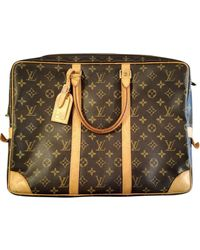 Louis Vuitton Porte Documents Voyage Leinen Reise tasche - Braun