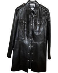 CALVIN KLEIN 205W39NYC Leather Mini Dress - Black