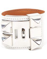 Hermès Collier De Chien White Leather Bracelets