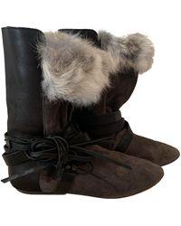 Isabel Marant Boots Nowles en Cuir Gris
