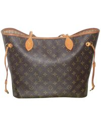 Louis Vuitton Borsa a mano in tela marrone Neverfull