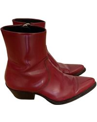 CALVIN KLEIN 205W39NYC Patent Leather Boots - Red