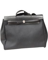 Hermès Herbag Leinen Handtaschen - Schwarz
