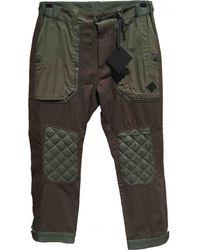 Moncler - Pre-owned Khaki Cotton Trousers - Lyst