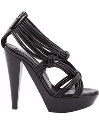 58170217918 Burberry Blaine Cross Front Suede Sandal in Black - Lyst