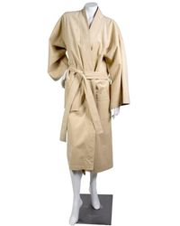 Halston \n Beige Synthetic Coat - Natural