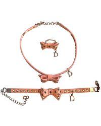 Dior Collar en cuero rosa