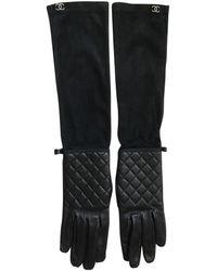 Chanel Guantes en cuero negro