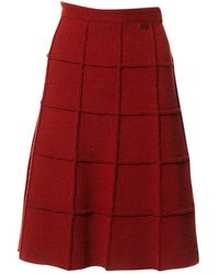 Chanel Wool Mid-length Skirt - Red