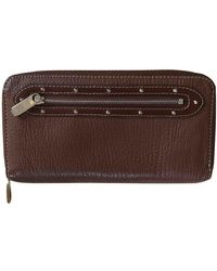 Louis Vuitton Cartera en cuero marrón Zippy