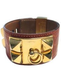 Hermès Collier De Chien Orange Crocodile Bracelet