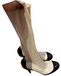 Chanel Lackleder Stiefel - Weiß