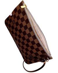 Louis Vuitton Neverfull Brown Cloth Clutch Bag