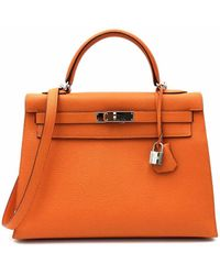 Hermès Kelly 32 Leder Handtaschen - Orange