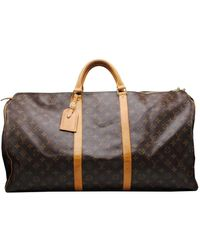 Louis Vuitton Keepall Brown Cloth Bag - Black