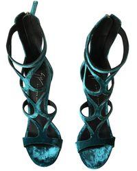 Giuseppe Zanotti Velvet Sandal - Blue