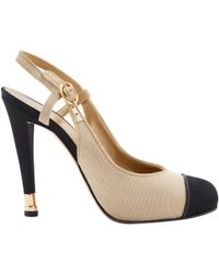 f3a99a32431 Chanel - Pre-owned Slingback Beige Cloth Heels - Lyst