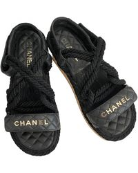Chanel Dad Sandals Leder Sandalen - Schwarz