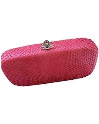 Oscar de la Renta Python Clutch Bag - Red
