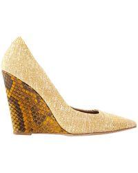 Burberry Cloth Heels - Natural