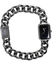 Chanel Reloj en acero plateado Première Chaîne - Negro