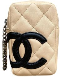 Chanel Cambon Leather Clutch Bag - Natural
