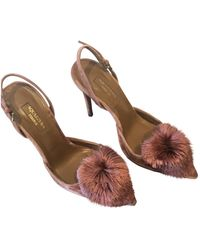 Aquazzura Powder Puff Velvet Heels - Pink