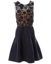 Oscar de la Renta Navy Cotton Dress - Blue