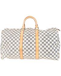 Louis Vuitton - Pre-owned Keepall Beige Cloth Bags - Lyst 7ea3f611e54b7