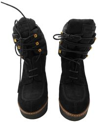 Louis Vuitton \n Black Suede Ankle Boots