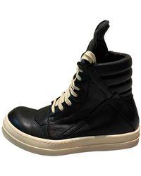 Rick Owens Leather Sneakers - Black