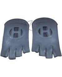 Hermès Leder Halbfingerhandschuhe - Blau