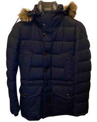 Moncler Fur Hood Wolle Daunenjacke - Blau