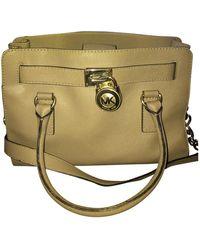 Michael Kors Hamilton Leather Handbag - Natural