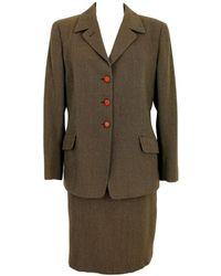 Burberry Wool Skirt Suit - Brown