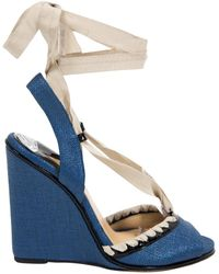 a837b4e3b44b Lyst - Paul Andrew Ayers Snakeskin Espadrille Wedge in Natural