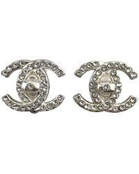 Chanel Boucles d'oreilles CC en Métal Argenté - Métallisé