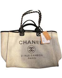 Chanel Deauville Leinen Shopper - Grau