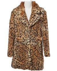 0fe43bd4d1df Miu Miu Round-collar Rabbit-fur Coat in White - Lyst