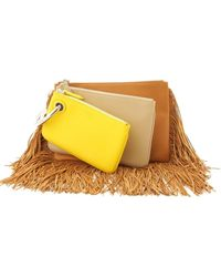 Fendi Triplette Multicolour Leather Clutch Bag