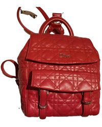 Dior Lady Leather Backpack - Red